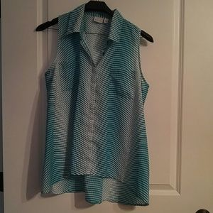 Kim Rogers Teal/White Sleeveless Blouse Large